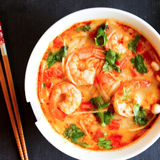 Thai Tom Yum Soup with Shrimps.