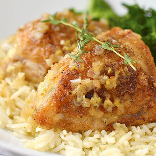 Pan-Roasted Chicken Thighs and Rice
