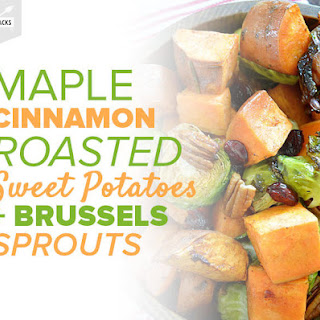 Maple Cinnamon Roasted Sweet Potatoes and Brussels Sprouts Recipe