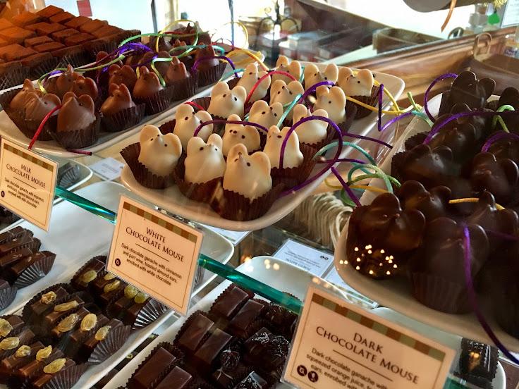 Chocolate mice on display.