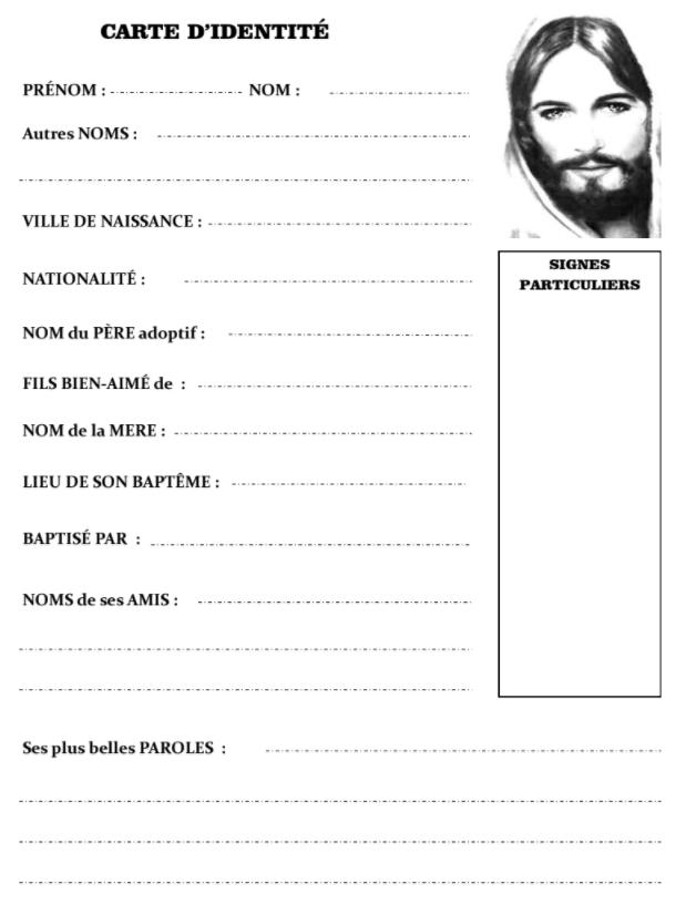 Carte d'identité de de Jésus