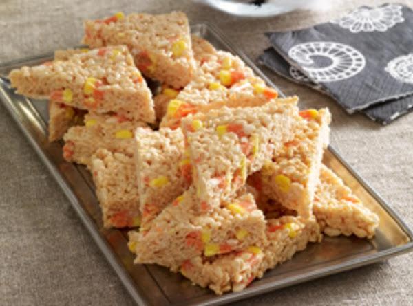 Candy Corn Marshmallow Crispy Treats Recipe