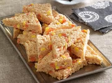 Candy Corn Marshmallow Crispy Treats