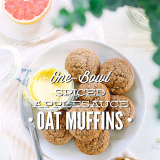 One-Bowl Spiced Applesauce Oat Muffins.