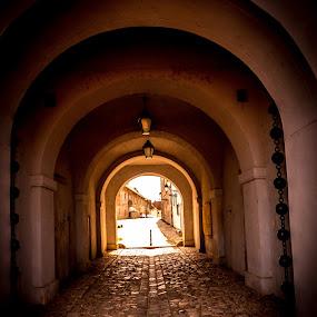 The water gate in Tvrđa by Alen Zita - City,  Street & Park  Street Scenes ( gateway, brick, arches, lamp, light )