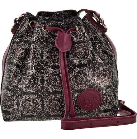 Liten säckväska rutig burgundy med blommigt foder