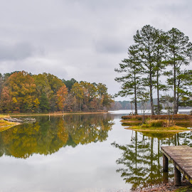 Serene Reflections by Joe Machuta - Landscapes Waterscapes ( still water reflection, herb parson's lake )