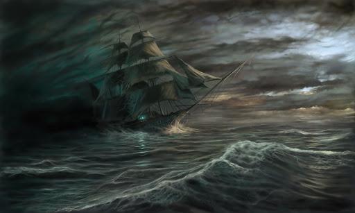 El caleuche navegando en aguas tormentosas