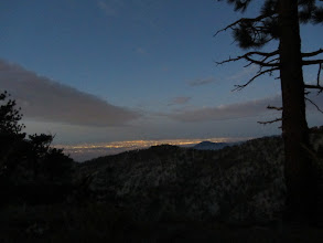 Photo: Monday, Sept. 3 - 5:57 AM - Pre-sunrise view southeast toward Pomona Valley from my campsite on Copter Ridge