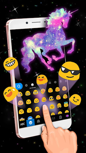night galaxy unicorn keyboard theme screenshot 3