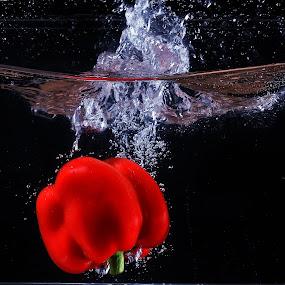 paprika red splashing by Ismed  Hasibuan  - Food & Drink Fruits & Vegetables ( water, paprika, foods, red, splashing, vegetables, bubbles )