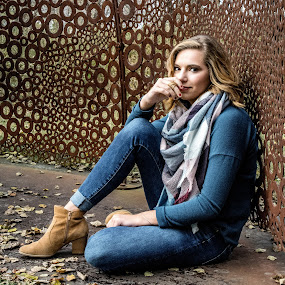 Casual At The Sculpture Park by T Sco - People Street & Candids ( woman, leaves, person, boots, sculpture, girl, portrait, park, picture, fashion )