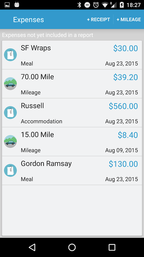 Expense Reports and Claims- screenshot