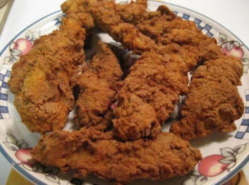 """Fried Chicken Strips """"Wonderful recipe...made this tonight and panfried with about 10..."""
