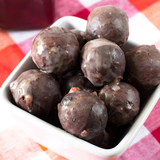 Cherry Glazed Chocolate Donut Holes