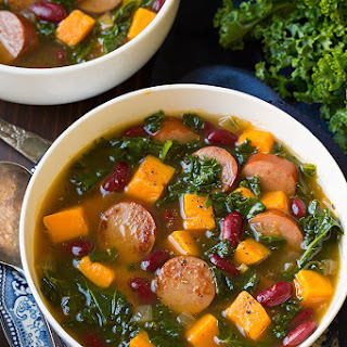 Turkey Sausage, Kale and Sweet Potato Soup.