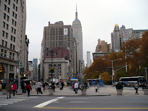 Photo: Madison Square from in front of the Flatiron Building looking toward the Empire State Building (1931). http://en.wikipedia.org/wiki/Madison_Square_Park http://en.wikipedia.org/wiki/Empire_State_Building