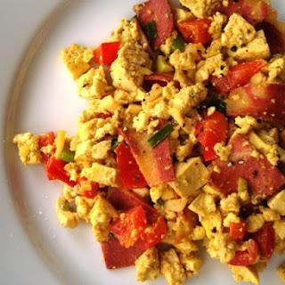 "Easy Vegan ""Bacon and Eggs"" Tofu Scramble."