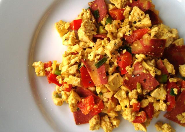 "Easy Vegan ""Bacon and Eggs"" Tofu Scramble Recipe"