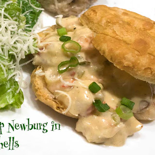 Shrimp Newburg in Puff Pastry Shells.
