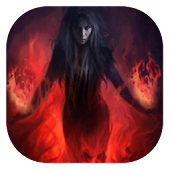 Witch on fire live wallpaper