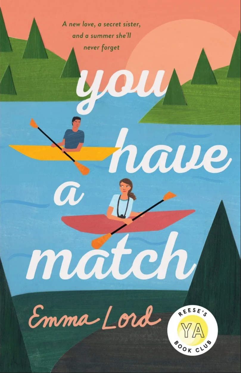 The cover art for YOU HAVE A MATCH features cutout-style art of two people -- a white femme and a tan masc -- in canoes on water, looking at each other and smiling.