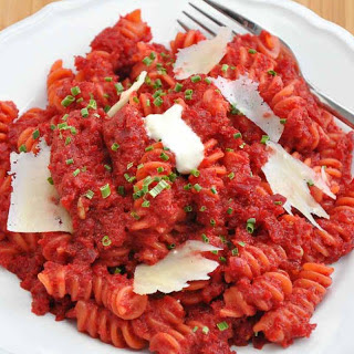 Pasta with Spicy Roasted Beetroot Sauce.