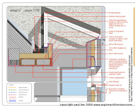 Photo: Detail through existing roof-rooflight-wall junction. Energy efficient extension to Dwelling near Glanmire, Co. Cork, Ireland. Completion scheduled for December 2009. Photos to be made available. Documentation produced exclusively in SketchUp Pro/ LayOut
