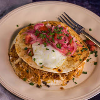 Bobby Flay's Bacon and Hash Brown 'Quesadilla' with Eggs.