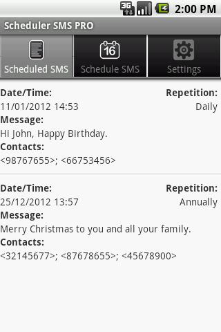 Scheduler SMS PRO screenshot 1