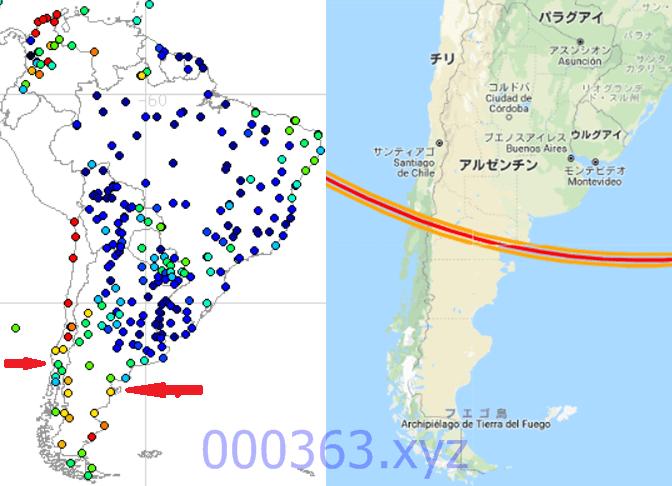 南米降水量マップ