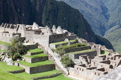Closeup of a different area of Machu Picchu, which is open for visitors to roam.