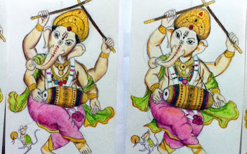 Photo: Twin Ganesha using pencils, water-colors and water-color pencils. When I have time I like to draw a set of two Ganesha or Laxmi's postcard size pictures for my mother, so she can put them in frames respectively, keep one for herself and give another for her friend. Surely these are drawn based on a sample miniature I brought from the market which is muchx100 beautiful and detail. 11th September updated (日本語はこちら☆) -http://jp.asksiddhi.in/daily_detail.php?id=298