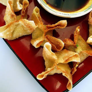 Split Pea Crab Rangoons with Sticky Ginger-Garlic Dipping Sauce.