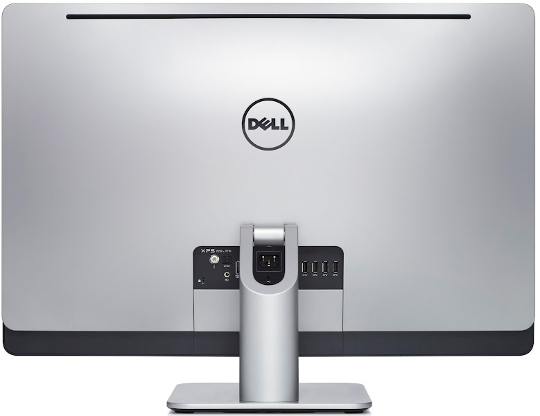 Photo: Dell XPS One 2710 all-in-one desktop computer - rear port view.