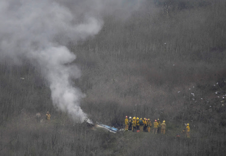 LA county firefighters on the scene of a helicopter crash that reportedly killed Kobe Bryant in Calabasas, California, U.S., January 26, 2020.