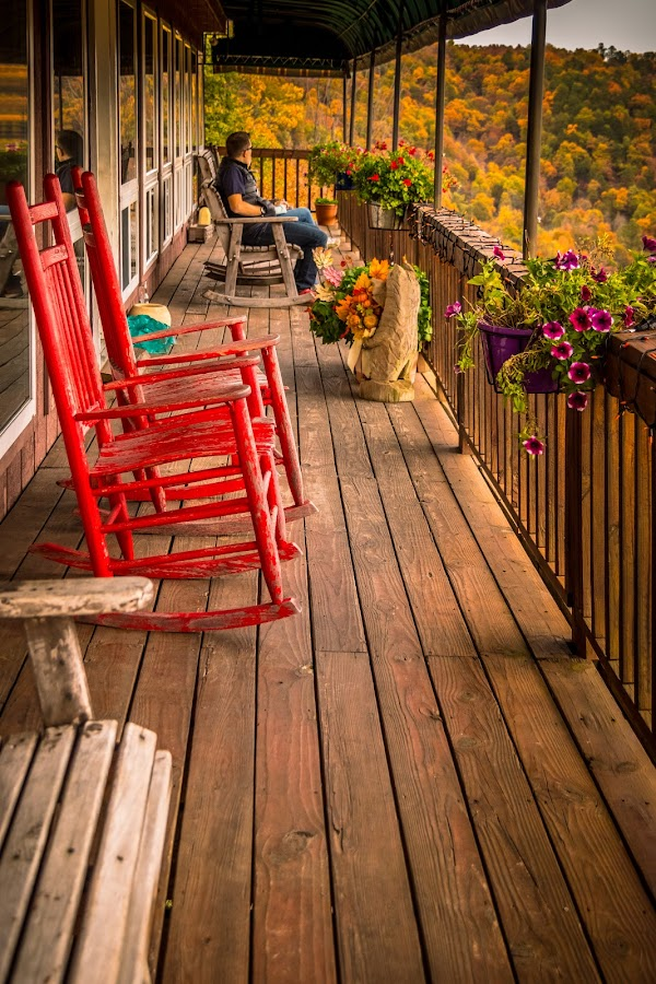 Come Set a Spell by Jennifer  Loper  - Buildings & Architecture Other Exteriors ( view, canyon, mountains, flowers, deck, restaurant, trees )