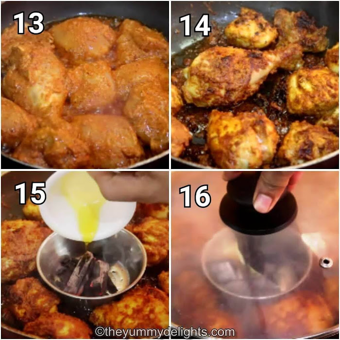 step by step image collage of pan-frying the tandoori chicken