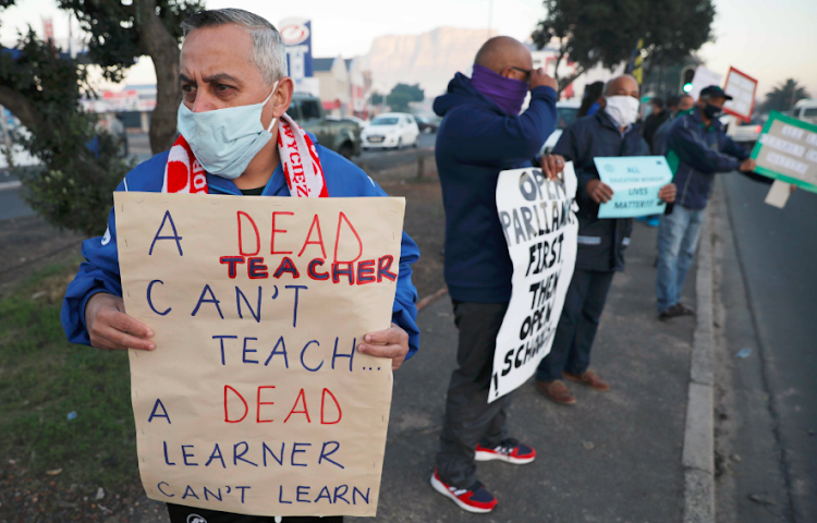 Teachers with the United Democratic Front protest in Athlone, Cape Town against the reopening of schools during the peak of Covid-19 on July 1 2020.
