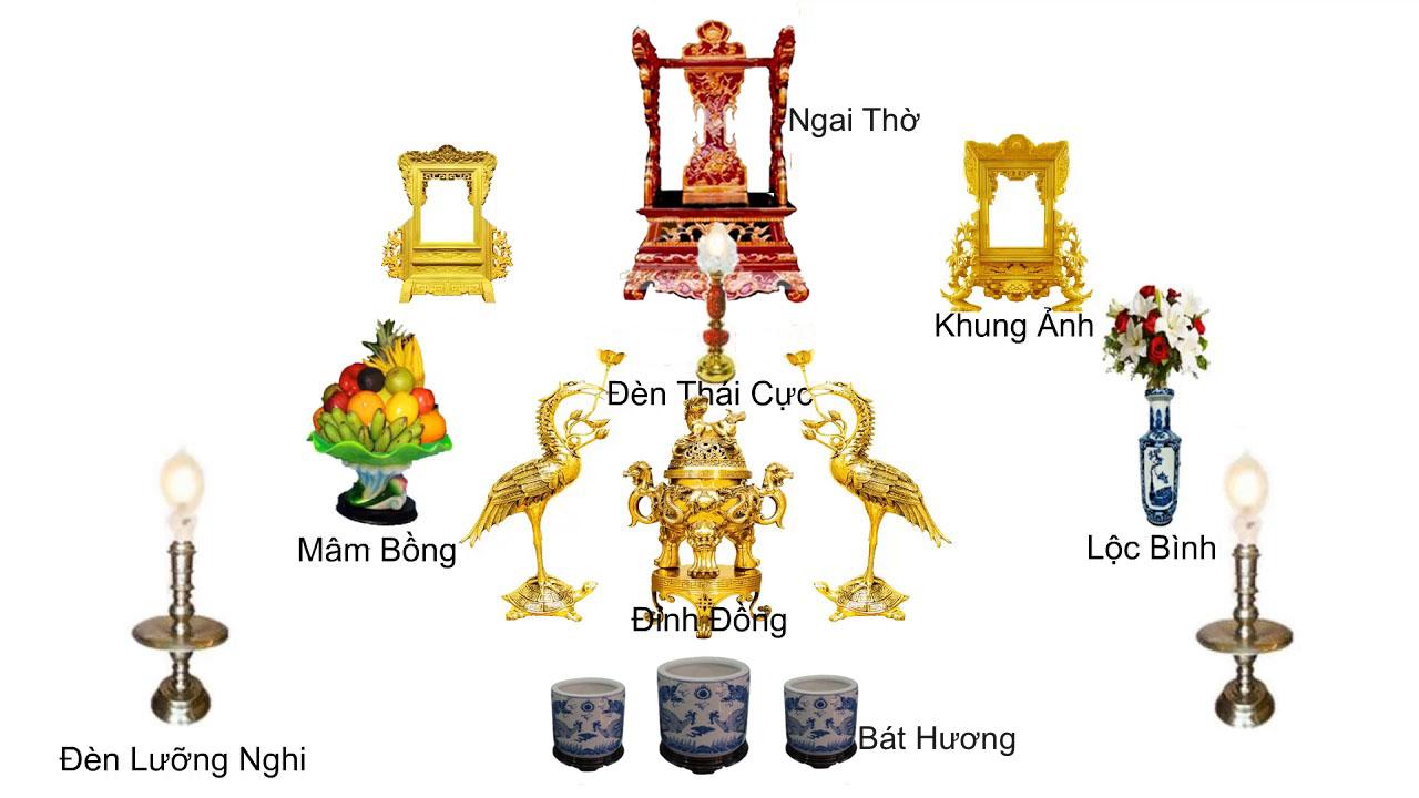 Vị trí sắp xếp các món đồ thờ trên bàn thờ gia tiên