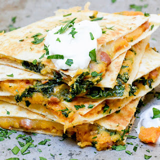 Sweet Potato, Pinto Bean and Kale Quesadillas.