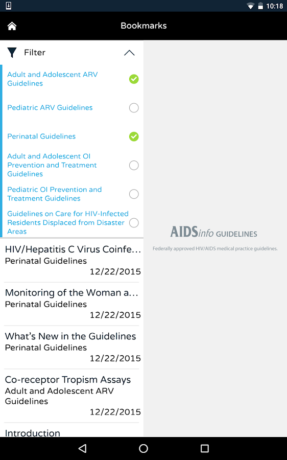 AIDSinfo HIV/AIDS Guidelines- screenshot
