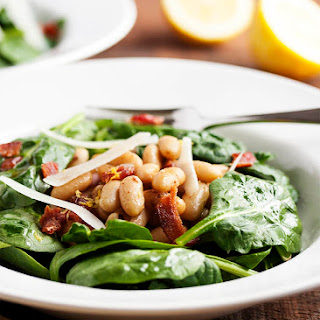 Warm White Bean, Bacon, and Spinach Salad Recipe