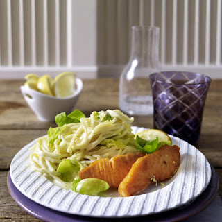 Lemon Spaghetti with Brussels Sprouts and Salmon.