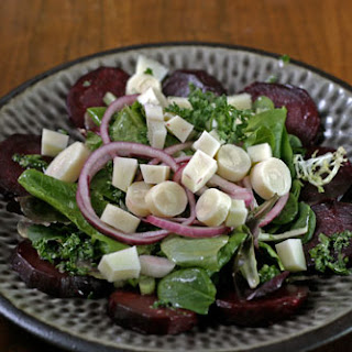 Beet Salad With Hearts of Palm, Manchego And Sweet Pickled Onions