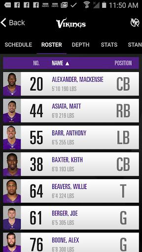 Minnesota Vikings Mobile Screenshot