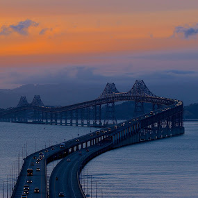 Dusk over the San Rafael Bridge by Robin Rawlings Wechsler - Buildings & Architecture Bridges & Suspended Structures ( water, clouds, san francisco bay, fog, seascape, architecture, bridge, landscape )