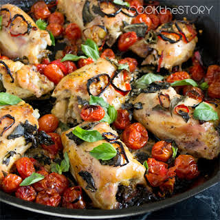 Baked Chicken with Tomatoes, Basil and Red Chillies (A.k.a. Maria's Chicken).