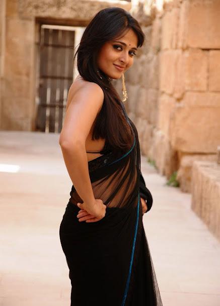 Anushka Shetty figure, Anushka Shetty in black saree, Anushka Shetty hot