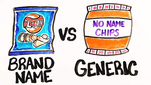 two bags of chips images depicting brand name and generic styles